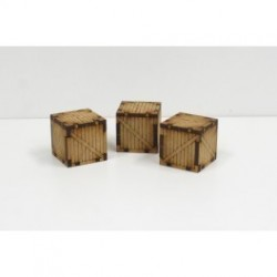 Sci-Fi Wooden Containers x3