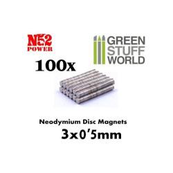 Neodymium Magnets 3x0'5mm - 100 units (N52)
