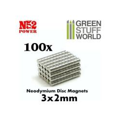 Neodymium Magnets 3x2mm - 100 units (N52)